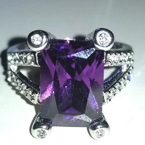 10K White Gold Filled Amethyst CZ Ring